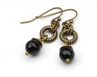 Black dangle earrings, antiqued brass hooks, textured rings, 1 1/2 inches long