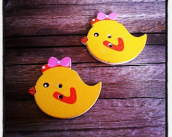 Set of 2 buttons wood chicken 30 x 25 mm