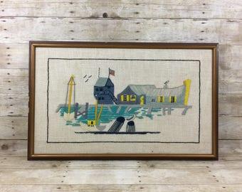 Nautical Sailboat Framed Embroidery Boat Dock Marina - Vintage Art