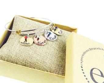 Mother's Day Gift - Birthstone Family - Children's Names - Hand Stamped Custom Engraved Bracelet -  Expressions Bracelets
