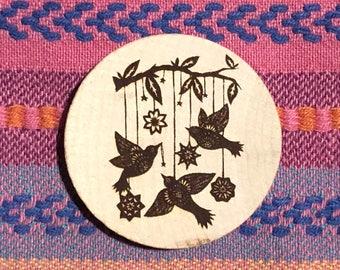 """3 Little Birds, 2"""" Wood Magnet"""