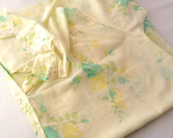 Vintage House Dress- Yellow with Green Roses