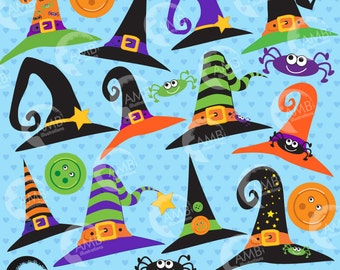 Witch hat clipart, Halloween clipart, Halloween clip art, Witch clipart, Halloween invitation, commercial-use, AMB-207