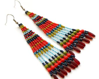 Bohemian long earrings Beaded dangle seed bead earrings Long colorful earrings Boho fringe earrings Fringe beaded earrings for women Ethnic