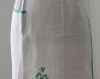 Linen Apron with Shamrock Embroidery