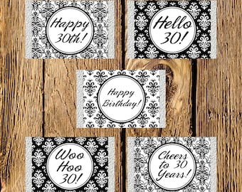 Printable 30th Birthday Black and White Damask Mini Candy Bar Wrappers - Instant Download