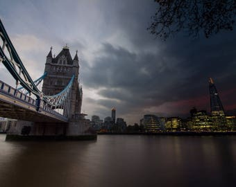 London Photo - London Day to Night - DIGITAL DOWNLOAD - Photography,Cityscape,Tower bridge,Skyline,Shard,City Hall,River Thames