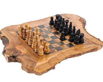 Olive wood chess set, Rustic set, Game fully made by hand