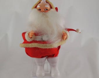 "Vintage Rubber Face Santa Claus Ornament Figurine Doll Felt Cloth Suit 7"" Japan"
