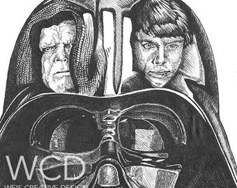 Vader Hand Drawn Original Art Print