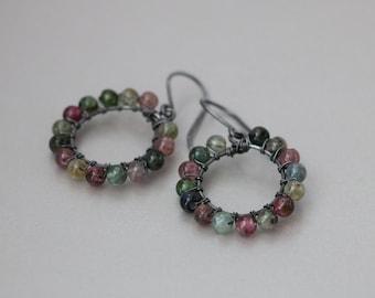 Multi color Tourmaline Hoop Earrings, Rainbow Tourmaline Antique Sterling Silver Earrings, Tourmaline Jewelry, October Birthstone