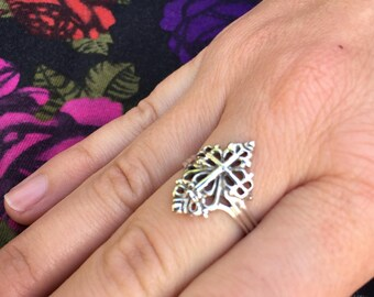 925 Sterling Silver Cross ring Christian for women Filigree point delicate and powerful spiritual Gift for her Wife Mom Girlfriend Church