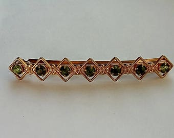 Vintage Hair Barrette Gold with 7 Olive Green Rhinestones