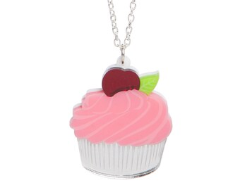 Cherry Cupcake necklace - laser cut acrylic