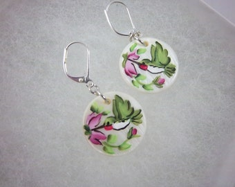 Hummingbird Earrings, Mother of Pearl, Hand-Painted, Lever-backs, Dangle Earrings