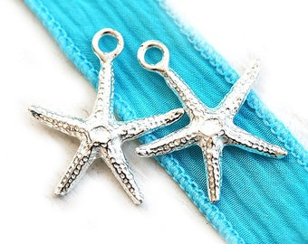 Silver Starfish charms, sea star beads, Greek metal casting, nautical beach charms - 20mm - 2pc - F026