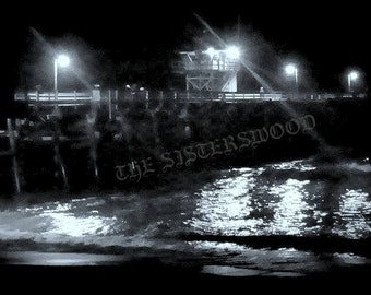 PIER at NIGHT Automatic Digital Photography Black and White