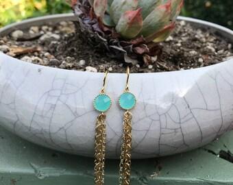 Mint Chandellier Earrings // Dangle Earrings // Stone Earrings // Gold and Turquoise Earrings
