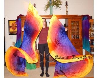 READY TO SHIP Sahariah's Belly Dance Silk Moth Isis/Whirl Wings 2 8mm Half Circle Veils Poi Veils Bellydance Veils Please Read!