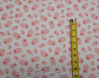 Pink Pigs Piglets Farm Oink on White  BY YARDS Timeless Treasure Cotton Fabric