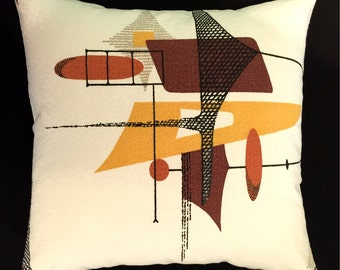"Mid-Century Modern Space Age Barkcloth Pillow Cover - READY TO SHIP - Russet Orange, Black, Brown, Gold - 17"" x 17"""