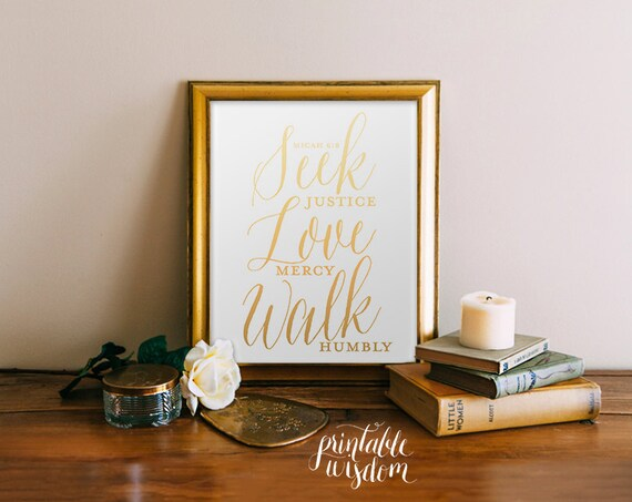 Items Similar To Bible Verse Wall Art Print Gold Foil