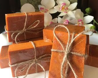 Turmeric Soap; Indian Turmeric; Sensitive Skin Brightening Soap w Rose-hip and Essential Oils; Exfoliating Acne Face Soap for All Skin Types