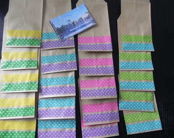 20 Kraft envelopes 7 x 12 CM decorated with masking tape with multicoloured dots