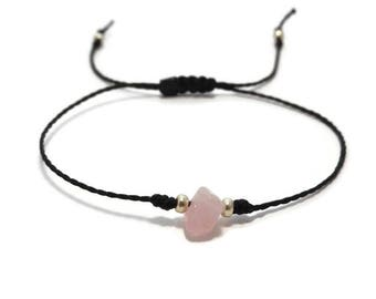 Rose Quartz Bracelet, Quartz Jewelry, Quartz Bracelet, Beaded Gemstone Bracelet, String Bracelet, Thread Bracelet, Minimalist Jewelry