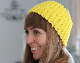 Yellow Headband - Womens Knit Headband - Womens Headband - Knit Chunky Headband - High Visibility Headband - Messy Bun Hat - Winter Headband