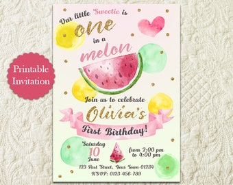 Watermelon Theme 1st First Birthday Invitation, One In A Melon Birthday Invitation, Summer Fruit Pink And Green Invite, Sweet Melon Invite