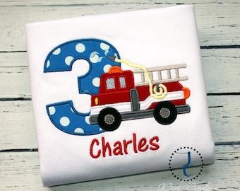 Firetruck Birthday Shirt - Fire Truck Birthday, Fire Truck Party, Boys First Birthday Outfit, Boys Birthday Shirt, Toddler Boys Birthday