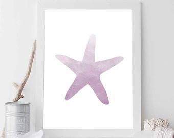 Lavender Starfish, Starfish Print, Starfish Art, Starfish Printable, Beach Decor, Nautical Decor, Nautical Wedding, Nautical Nursery