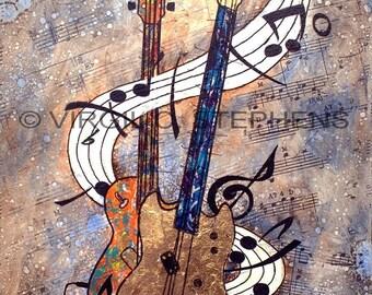 Guitar art, Music art, All That Glitters, giclee print of music, musical instruments, guitars, guitar painting Musicial artwork