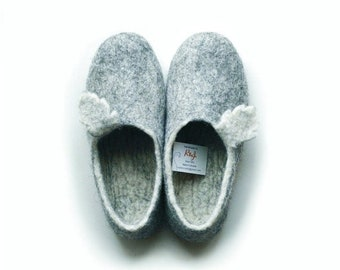 SPRING SALE Eco friendly felted slippers- gray