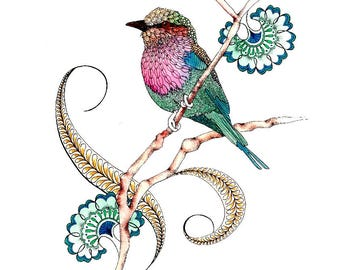 Bird artwork prints, Lilac Breasted Roller illustration, Nature inspired gift-for-woman, Nature lover gift, Wall art