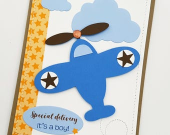 Cute Airplane Baby Boy Congratulations Card for New Baby or Baby Shower.
