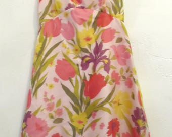 Marked Down@@A Lovely Vintage 60's,Pink FLORAL Poly TANK Dress.S