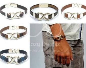 bold unisex infinity leather bracelet, mens leather bracelet, infinity bracelet, Infinity Jewelry, anniversary gift for men, gifts for him