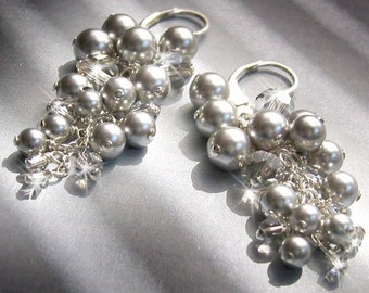 Long Pearl Cluster Chandelier Earrings - Silver Pearls - KARIN