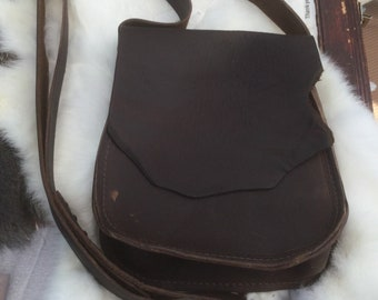 Oil tanned cowhide leather bag in a beautiful deep brown, cross body or over the shoulder