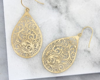 Paisley Drop Earrings - 18th - 21st - 30th  - anniversary gift - Gift for her - mothers day