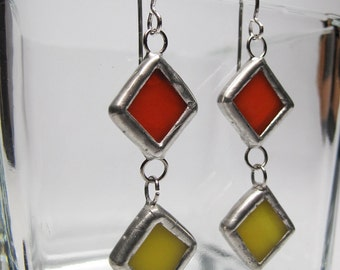 Citrus Diamonds - Sterling Silver Stained Glass Earrings