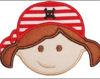 Pirate Girl (Brunette or Blonde) Appliqued Embroidered Patch. Sew or Iron on
