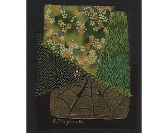 Quilt Art Collage Embroidered Crazy Quilt Patchwork Garden Spider Web Ready to Frame