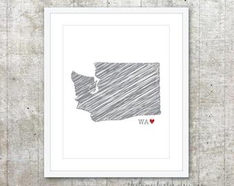 State of Washington Art Print - Custom State Love Poster - Slate Grey Red Heart - Modern Wall Art