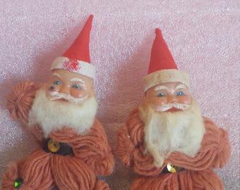 Vintage yarn Santa, rubber faces, Christmas, package tie on, Japan