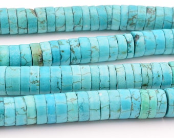 "16"" 3mm x 8mm blue turquoise heishi beads"