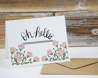 Note card Set of 10 pink hello
