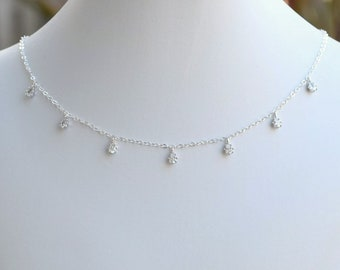 Handmade Sterling Silver Cubic Zirconia Teardrop Choker, Sterling Silver Choker, CZ Choker, Sterling Silver Necklace, Wedding Jewelry, N064